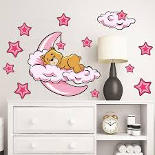 2020 Newest Adorable Bear Sleeping On Moon Cloud Wall Sticker Star Decal Baby Room Decor Diy Child Sleeping Bear Wall Sticker Wall Murals And Decals Wall Murals And Stickers From Wanghongmei8888 5 19