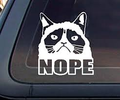 Amazon Com Grumpy Cat Nope Car Decal Sticker White Everything Else