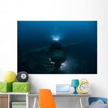 Diver Exploring Wreck Japanese Wall Decal Wallmonkeys Com