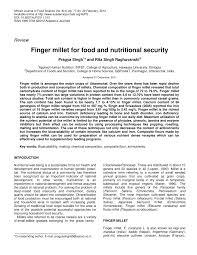 finger millet for food and nutritional