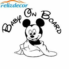Hot Selling Mickey Mouse Baby On Board Car Decal Cute Baby Cartoon Funny Sticker 5 49 Picclick