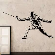 Swordsman Fencer Wall Stickers For Wall Decal Fencing Hall Fch Decoration Murals Accessories For Living Room Vinyl Wallpaper Stickers For Wall Decoration Wall Stickerstickers For Wall Aliexpress