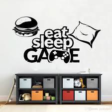 Eat Sleep Game Wall Sticker Vinyl Home Decor Boys Room Playroom Art Decals Hamburger Pillow Game Controller Mural Removable Bedroom Wall Decals Bedroom Wall Stickers From Joystickers 10 76 Dhgate Com