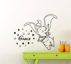 Amazon Com Personalized Dumbo Wall Decal Stars Custom Name Baby Elephant Disney Cartoon Flying Elephant Vinyl Sticker Home Gift Nursery Playroom Kids Baby Room Art Decor Mural Removable Poster 120ct Baby