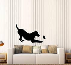 Amazon Com Vinyl Wall Decal Pet Shop Silhouette Dog With Butterfly Animal Stickers Large Decor 2921ig Black Arts Crafts Sewing