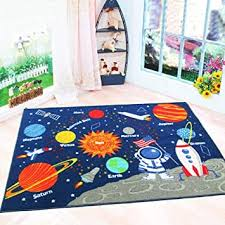 Amazon Com Hebe Kids Rugs Non Skid Washable Outer Space Rug Children Educational Learning Carpet For Playroom Bedroom Solar System Large Area Rug Blue 3 3 X 4 3 Stars Furniture Decor
