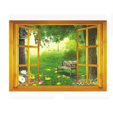 Shop Creative Motion Peel And Stick Diy Decorative Wall Decal With Window View To The Forest Overstock 24127426