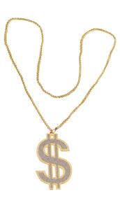 gangster fake gold dollar sign necklace