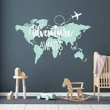 Adventure Awaits Wall Art Adventure Theme Nursery World Map Etsy
