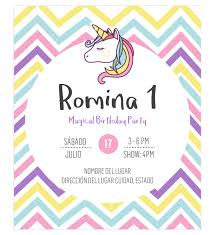 Invitacion Unicornio Rayas Para Fiesta De Cumpleanos