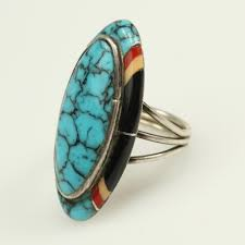 Sterling Silver 8.7g Native American Felix Perry Inlay Ring | Property Room