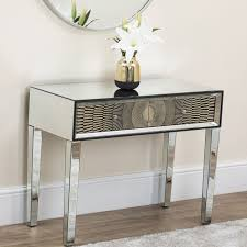 gold mirrored console table abreo home