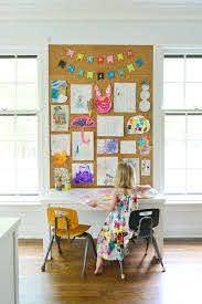 How To Make A Giant Cork Board Wall For Kid Art Young House Love Art Display Kids Displaying Kids Artwork Diy Kids Art