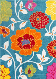 Starbright Daisy Flowers Blue Modern Floral Kids Area Rug 0926 Contemporary Kids Rugs By Rug Lots Area Rug Warehouse