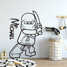 Lego Wallpaper Ninjago Custom Name Wall Sticker For Baby S Room Lego Stickers For Kids Room Bedroom Accessories Decal Poster Wall Stickers Aliexpress