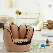 Kids Furniture Baseball Glove Lounge Chair For Kids Bedroom Furniture Accent Baby Sitting Seat