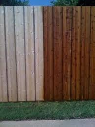 Before And After Stained Cedar Fence Google Search Cedar Fence Diy Garden Fence Fence Stain