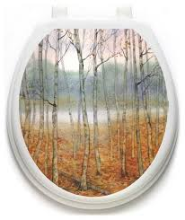 Foggy Forest Toilet Tattoos Toilet Lid Decal Toilet Seat Cover Contemporary Wall Decals By Lena Fiore Inc Dba Toilet Tattoos