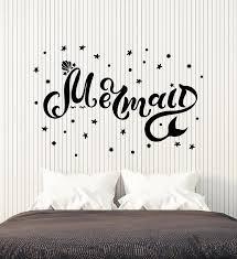Vinyl Wall Decal Mermaid Inscription Stars Sea Ocean Bathroom Stickers Wallstickers4you