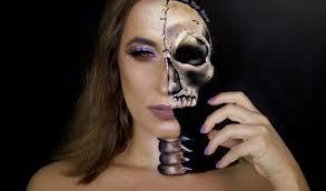 half skull face makeup sarah magic makeup