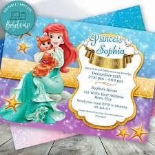Editable Princesa Sirena Para Nina Invitaciones Descarga
