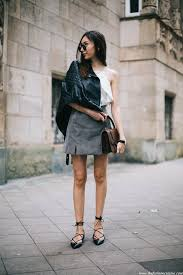 suede skirt with lace up flats the