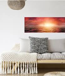 Panoramic Wall Mural Decal Pink Sunset Over Stormy Sea Wall Etsy