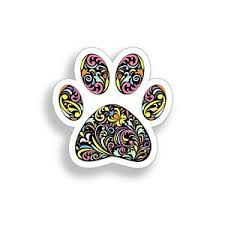 Dog Paw Print Sticker K9 Pet Colorful Pattern Cup Cooler Car Window Bumper Decal Ebay