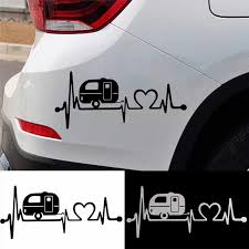 1pcs 20 3 8 9cm Vinyl Car Sticker Black White Camper Heartbeat 3d Car Stickers And Decals Car Body Window Stickers Car Styling Aliexpress