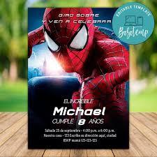 Invitacion De Cumpleanos De Spiderman Superheroe Imprimible