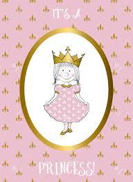 Su Una Tarjeta Pequena Nina Con La Princesa Invitacion De La