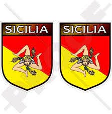 Amazon Com Sicily Sicilian Shield Italy Sicilia Italian 75mm 3 Vinyl Bumper Stickers Decals X2 Automotive