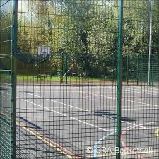 Basketball Court Surround Fence Outdoor Specification Steel Coated Mesh Surround Fencing For S In 2020 Basketball Court Backyard Basketball Floor Basketball Court Size