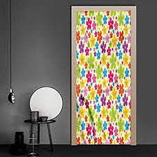 Amazon Com Wall Decals Colorful Sixties Hippie Flowers Welcome Door Vinyl Decal Easy To Use Not Too Thin 35 4 X 78 7 Inch Baby