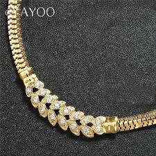 crystal gold color women jewelry sets