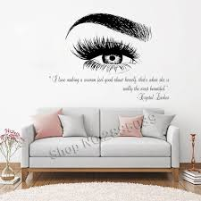Beauty Salon Quote Wall Decal Stickers Eye Eyelashes Lashes Eyebrow Brows Vinyl Decals Livingroom Art Decor Sticker Muraux Lc357 Stickers Muraux Wall Decals Stickersdecorative Stickers Aliexpress
