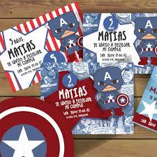 Invitaciones Infantiles Cumpleanos Capitan America X 30 550 00