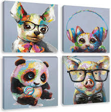 Amazon Com Biufo Colorful Animals Canvas Wall Art Print Funny Panda Smart Pig Painting Picture For Kids Boy Girl Room Nursery Decor Framed 12x12 Inches Posters Prints