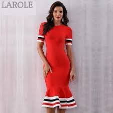 Red Mermaid Bandage Midi Dress With Sexy Short Sleeve – Larole