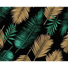Wals0432 Emerald Green And Gold Palm Leaves Wall Mural By Ohpopsi
