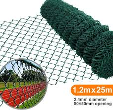 Amagabeli 1m X 25m Green Chain Link Fencing Ral6005 Pvc Coated 50 X 50mm Mesh Size