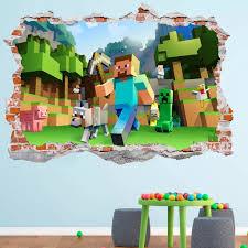 Minecraft 3d Smashed Wall Decal Broken Wall Sticker Wall Art Dalvars On Artfire