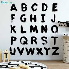 Abc Alphabet Wall Decals Nursery Room Learning Nursery Decor Kids Play Room Letters Stickers Self Adhesive Murals Yt2885 Aliexpress
