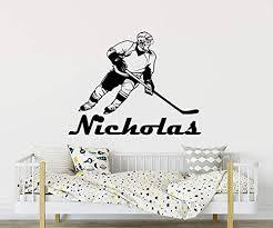 Amazon Com Personalized Hockey Wall Stickers Boys Name Hockey Wall Decal Boy Name Wall Art Sport Boys Nursery Bedroom Decor C509 Handmade