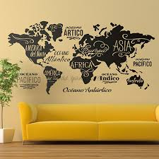 Large World Map Wall Decal Outline World Map Sticker Home Bedroom Living Room Decor Removable Adhesive Vinyl Wall Mural B2 022 Wall Stickers Aliexpress