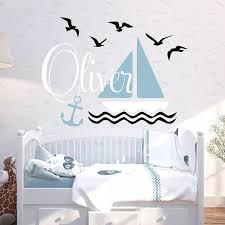 Sailboat And Sea Mew Custom Wall Decal Nursery Sea Theme Wall Sticker For Boy S Room 755c Wall Stickers Aliexpress