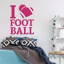 Amazon Com I Love Football Wall Decal With Heart Vinyl Sticker Decor For Men Women Boy Or Girl Bedroom Playroom Or Game Room Gold Navy Black White Red Other Colors