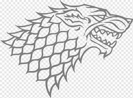 Gray Wolf Sansa Stark House Stark Winter Is Coming Decal Game Of Thrones Angle Leaf Monochrome Png Pngwing