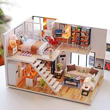 Diy Led Light Kids Wooden Dollhouse Apartment Doll House Jigsaw Puzzle Kit With Furniture 1 24 Scale Creative Room Gift Home Decoration Fun Kids Christmas Gift Walmart Com Walmart Com