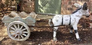 wagon statue weathered garden chalkware